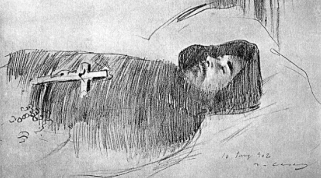 Dibuix de Ramon Casas de Jacint Verdaguer amb l'hàbit franciscà després del seu traspàs.